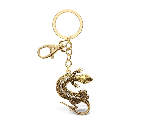 CoTa Global Gold Gecko Lizard Sparkling Metal Charm - Unique Vintage Style Pendant Keychain Stylish Elegant Fob in Crystal Studs 6.5 Inch Bag and Keys Office Or School Accessory - Item 6676-10 ()