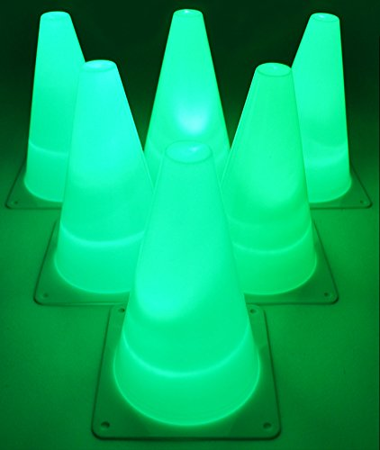 GlowCity Light-Up Soccer Training Cones - 6 x 7-inch Super-Bright LED Agility Drill Cones - for Basketball, Athletics and Glow-in-The-Dark Practice - Batteries Included (6 Pack) (Green)