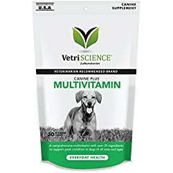 VetriScience Laboratories Canine Plus MultiVitamin for Dogs, 30 Chewable Tablets