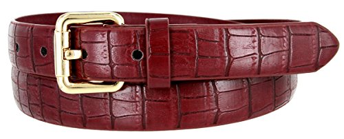 (7075 Women's Skinny Alligator Embossed Leather Casual Dress Belt (Burgundy, Medium))
