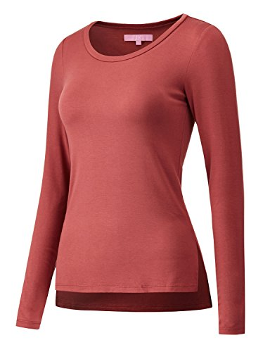 Regna X Women's Scoop Neck Plain Cotton Spandex Long Sleeve T-Shirt top Pink S
