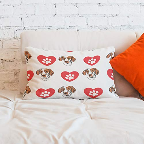 Style In Print Personalized Pillow Case Ariege Pointer Dog Heart Paws Polyester Pillow Cover 20INx28IN Design Only Set of 2 11