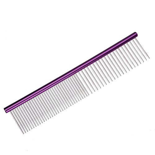 Pet Grooming Steel Comb Pet Round Handle Anti Static Row Comb for Dogs and Cats (purple)