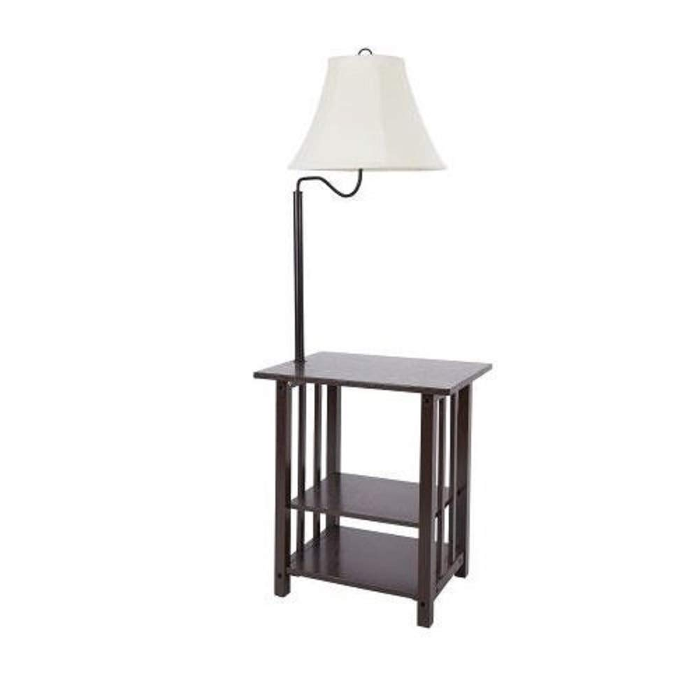 Combination Floor Lamp End Table With Shelves And Swing Arm Shade Use As A Nightstand Or Magazine Rack By Sofa Or Bed Lamps