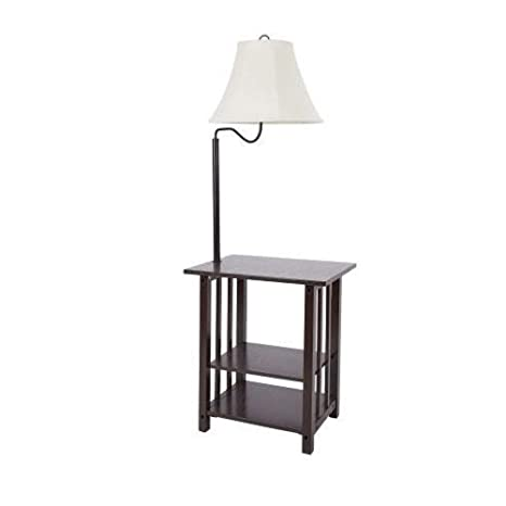 Combination Floor Lamp End Table with Shelves and Swing Arm Shade Use As a Nightstand or Magazine Rack by Sofa or Bed Lamps (Espresso)