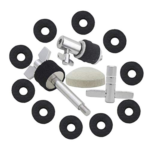 MagiDeal Drum Kit Parts Hi-hat Stand Screw+Drum Key+Cymbal Clutch+Pedal Beater Hammer Head+Cymbal Felt Pads by non-brand