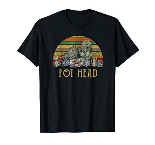 Pot Head T-shirt - Pot Head Stone Flowers VIntage Retro Sunset Tshirt