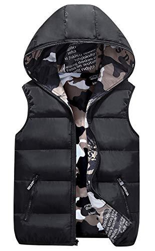 AIEOE Winter Vest met Capuchon Kinderen Jongens Meisjes Camouflage Mouwloos Jack Omkeerbaar Gewatteerd Vest