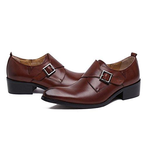 GRRONG Zapatos De Cuero De Piel De Vaca De Los Hombres Traje De Etiqueta Señaló Negocio Brown