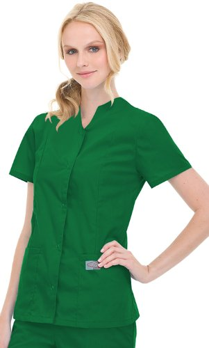 Scrubzone By Landau Women's Snap Front Solid Scrub Top Medium (Snap Front Scrub Top Hunter)