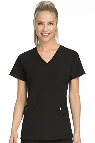 Med Couture Women's 'Air Collection' Raglan Sleeve Spirit Scrub Top, Black/Apple, XXX-Large ()