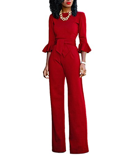 Dingang Women's One Off Shoulder Half Sleeve Jumpsuits High Waisted Wide Leg Long Romper Pants with (Women's Leisure Suits)