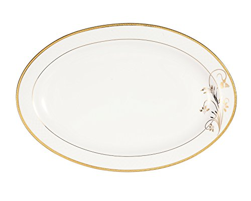 Lorren Home Trends Rosalia Collection Bone China Serving Platter, 14