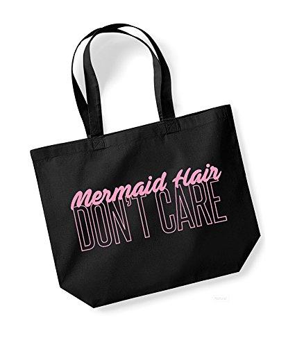 Slogan Canvas Unisex pink Kelham Tote Don't Black Hair Print Cotton Bag Mermaid Care nSxBBEUf