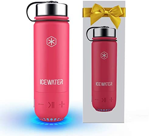 ICEWATER 3-in-1 Smart Stainless Steel Water Bottle(Glows to Remind You to Stay Hydrated)+Bluetooth Speaker+Dancing Lights,20 ounces,Stay Hydrated, Enjoy Music (A5-Pink)