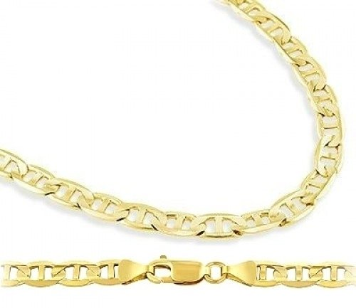 Solid 14k Yellow Gold Bracelet Mariner Link 4.3mm 7.5 inches