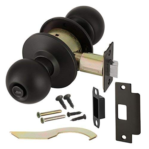 Cylindrical Lock Knob - Commercial Grade 2 Push Button Privacy Door Knob with Cylindrical Lockset, Oil Rubbed Bronze, Non-Handed, by Lawrence Hardware LH5322