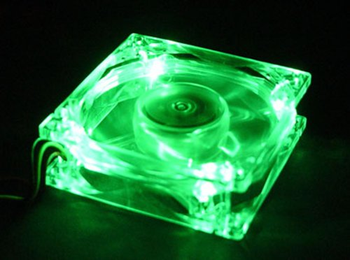 Autolizer Sleeve Bearing 80mm Silent Cooling Fan for Computer PC Cases - High Airflow, Quite, and Transparent Clear (Green Quad 4-LEDs) - 2 Years Warranty