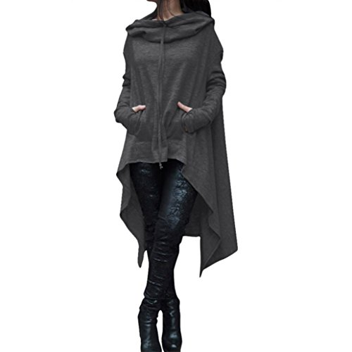 Women Irregular Sweater Among Loose Hoodie Long Tops Ladies Solid Color Sweatshirt Casual Fashion Asymmetric Blouse Coat (L, Dark Gray)