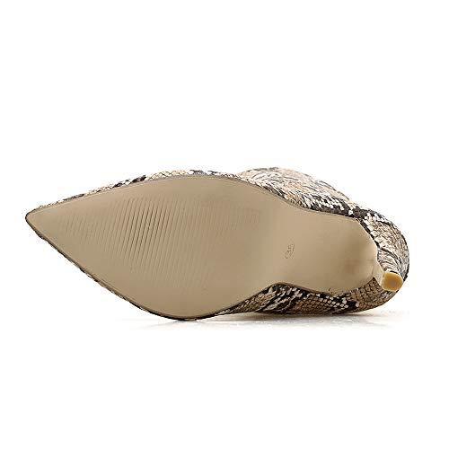 para Invierno Calzado Punta Militares de Moda Mujer Multicolor Señora Talla Aguja Otoño Botas Grande Serpiente Botas Cordones Dama Chelsea Piel Tacón con tacón de Botas Zapatos 2018 PAOLIAN Botas cuña 5Iq4n