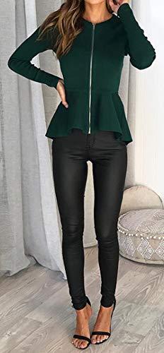 Primavera Lunga Cappotto E Cime Corto Tops Verde Casual Moda Blazer Manica Donne Jacket Sottile Con Outerwear Zip Giacche Autunno Giacca r8rnWqZSY