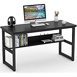"Tribesigns Computer Desk with Bookshelf, 55"" Simple Modern Style Writing Desk with Metal Legs Works as Office Desk Study Table Workstation for Home Office in Black"