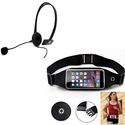 Black Sports Running Workout Waist Bag Belt Case w Wired Headset Mono Handsfree Headphone D1Q Compatible with LG X Venture, K20 V, G Vista, Premier LTE, Plus, Optimus G Pro, Lite, V50 ThinQ 5G