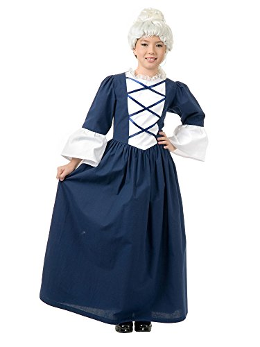 Charades Child's Martha Washington Costume Historical, Blue/White, (Kids Deluxe Colonial White Wig)