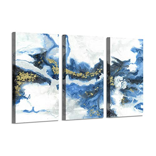 Ocean Abstract Art Picture Print: Crashing Waves Gold Foil Artwork on Canvas Decor Set (Abstract Art Piece)