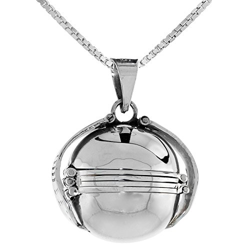 (Sterling Silver Photo Ball Locket Necklace For Six Pictures 3/4 inch, 20 inch BX_24)
