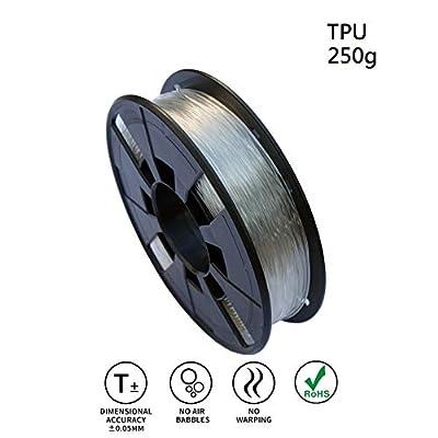 LEE FUNG 1.75mm TPU 3D Printing Filament, Dimensional Accuracy +/- 0.05mm, 0.55 LBS (0.25KG) Spool,1.75 mm 3D Filament for Most 3D Printer & 3D Printing Pen (Transparent)