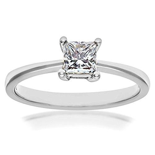 mglmahi 1.00ct Coupe Princesse imitation diamant solitaire Bague de Fiançailles en Or Blanc 9Carats
