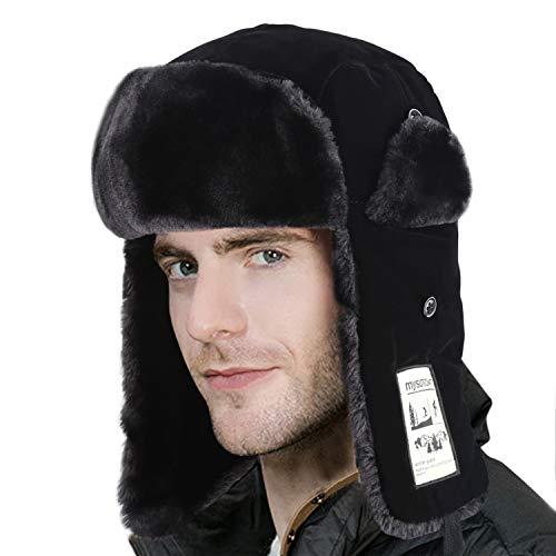 (mysuntown Trapper Winter Hat, Ushanka Skiing Hunting Hats, Trooper Hat with Warm Ear Flap Fur Winderproof Bomber Hat for Men&Women, Black)