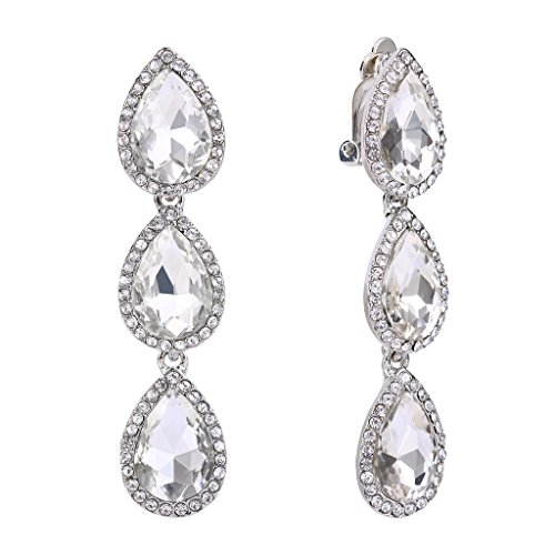 (EleQueen Women's Silver-tone Austrian Crystal Teardrop Pear Shape 2.4 Inch Long Clip-on Dangle Earrings Clear)