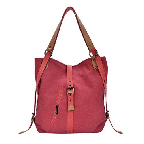 Women Shoulder Bags, ? Xinantime Female Vintage High Quality Canvas Totes Hobos Shoulder Bags Backpack (36cm*10cm*38cm, Khaki) Red