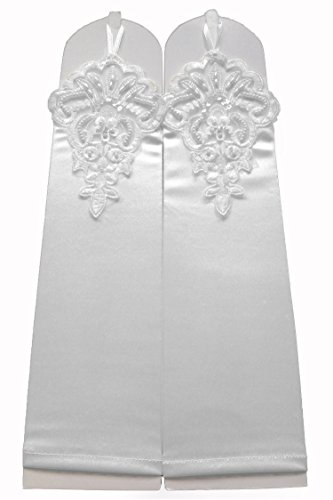 "Fingerless Gauntlet - Dobelove Beaded Satin Fingerless Gauntlet Style Beaded Gloves for Ladies 12.5"" (White)"
