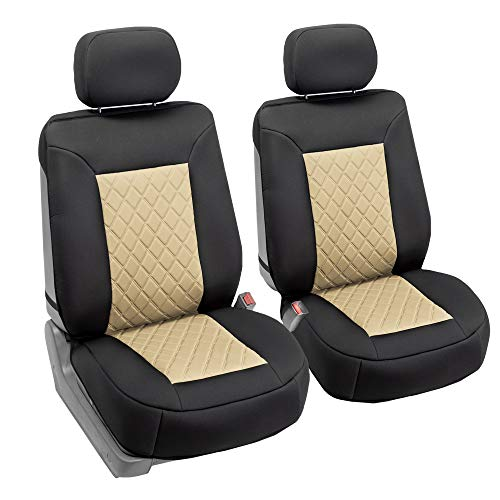 FH Group FB088102 Neosupreme Car Seat Cushion Deluxe Quality, Water Resistant, Non-Slip Backing, Easy Installation, Beige/Black Color