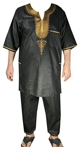 DecoraApparel African Traditional Men Suit Ethnic Clothing Brocade Pant Set (One Size, Black Gold) by Decoraapparel