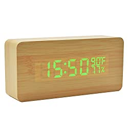 Gigibon Atomic Travel Alarm Clock, Auto Time Set Wooden Alarm, Battery-operated&Voice-activated,with Temperature&Humidity,Able to set 3 Groups of Alarm, OK to Wake for Teens, Heavy Sleepers (Wooden)
