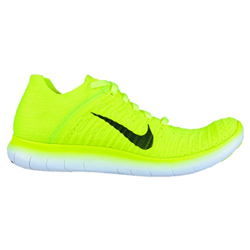 Nike Wmns Free Rn Flyknit Ms - Zapatillas de running Mujer Verde (Volt / Black-White)