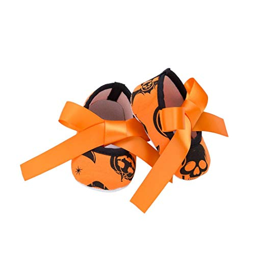 Tronet Halloween Baby Shoes, Toddler Girls Non-Slip Boots Cute Kids Shoes (Orange, -