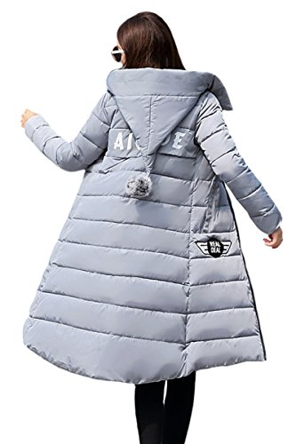 Quilting YMING Gray Filled Cotton Women's Jacket Long Winter Down YqHqBw64