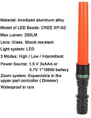 "2Pc 11/"" Signal Traffic Wand Baton LED Flashlight CREE 250 Lumen R BLACK 1 UF 303"