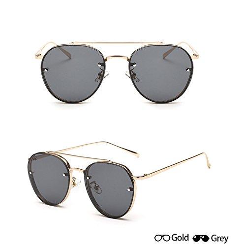 sol de de Mujeres fotograma Gafas aviador de lentes gafas gafas de grey sol Ocean moda gris Nueva Unisex completo oro Oro señoras W sol ZHANGYUSEN gafas Oculos de W hombres XqOw0vzn