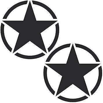 Greenit 2 Stück Sterne 10cm Matt Schwarz Usa Army Mp Auto Jeep Tuning Aufkleber Tattoo Die Cut Deko Folie Auto