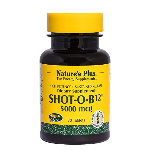 NaturesPlus Shot-O-B12 (Methylcobalamin, Sustained Release - 5000 mcg, 30 Vegetarian Tablets - High Potency, Fast Acting B12 Supplement - Memory & Energy Booster- Gluten-Free - 30 Servings