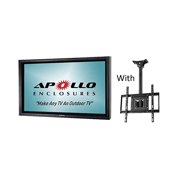 """Apollo Outdoor TV Enclosure for 46-50"""" LED/LCD Televisions with Weatherproof Adjustable Height Ceiling Mount in Black 1"""