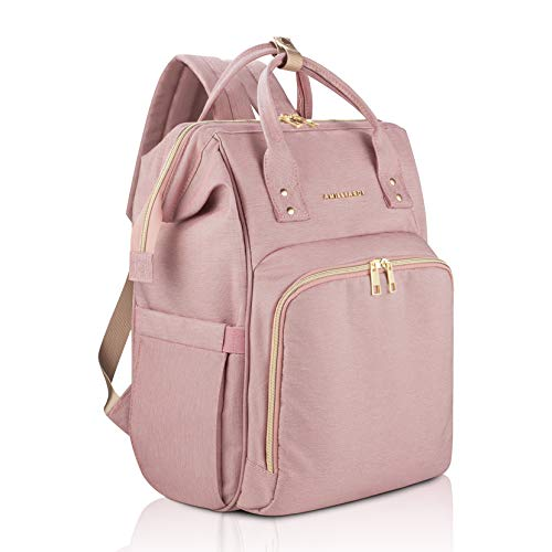 Amilliardi Diaper Bag Backpack 6 Insulated Pockets Stroller Straps (Light Pink) (Baby Bags Name Diaper)