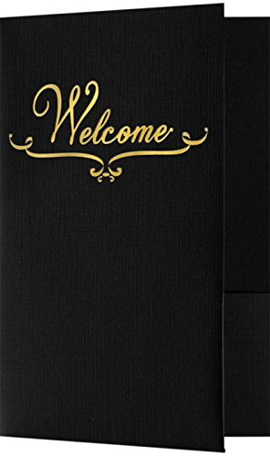 (Welcome Folders - Gold Foil Stamped Design - Deep Black Linen (25 Qty) | Perfect for Hotel Welcome Baskets, Wedding Programs, Simars, Brochures and so Much More! | Two Pockets | WEL-DDBLK100-GF-25)