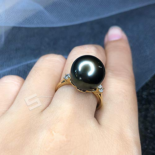 Genuine Tahitian Pearl And Gold Ring, 13MM Authentic Tahitian Cultured Pearl In Solid Gold Promise Ring, Black Pearl & Gold Jewelry